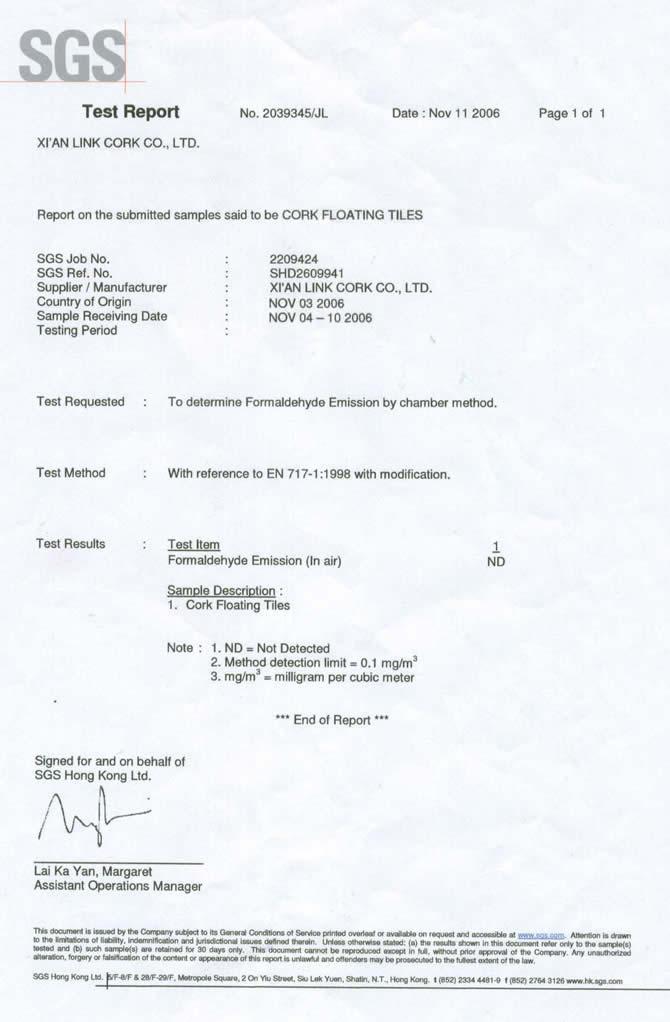 Sgs Test Report Cancork Floor Inc