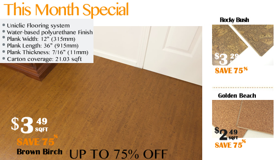 this month on sale cork flooring